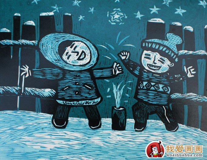 儿童版画:传统木刻版画《过年啦》