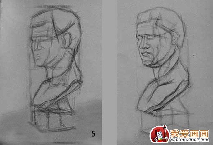 结构素描教程:结构素描的意思及石膏头像结构素描画法步骤(5)