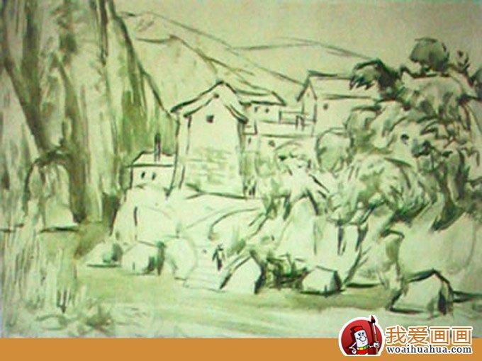 山村水粉风景画写生步骤:山村山水房子水粉绘画教程(2