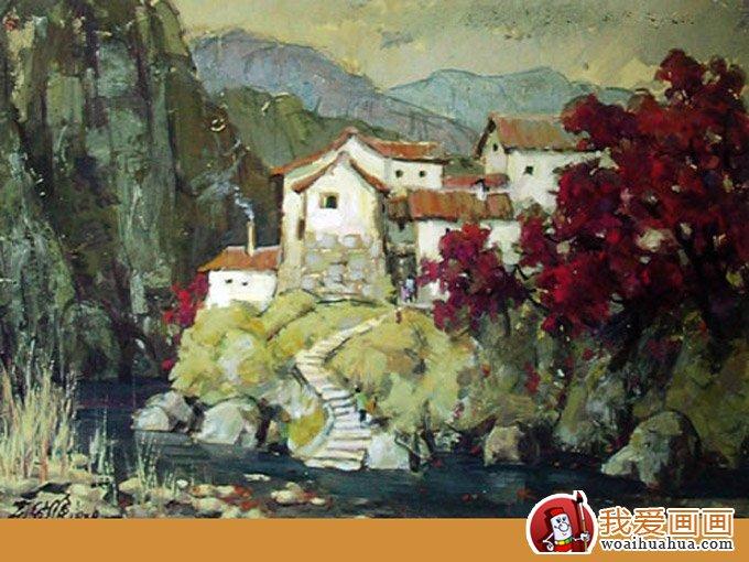 山村水粉风景画写生步骤:山村山水房子水粉绘画教程(7