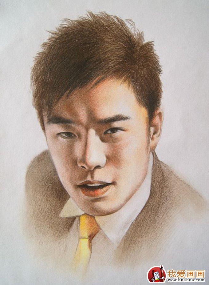 逼真素描画_彩铅画:逼真的人物彩色铅笔素描大图(5)