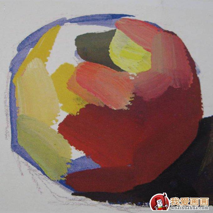 水粉画苹果的简单画法:四步画出苹果水粉画教程(3)