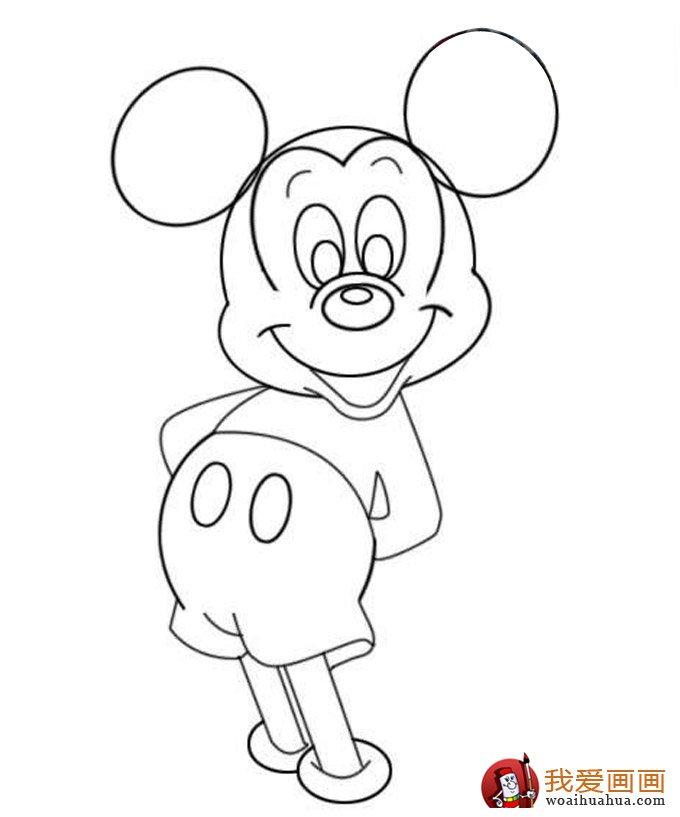 米老鼠画法:米老鼠从简笔画到填色的整个过程图文教程图片