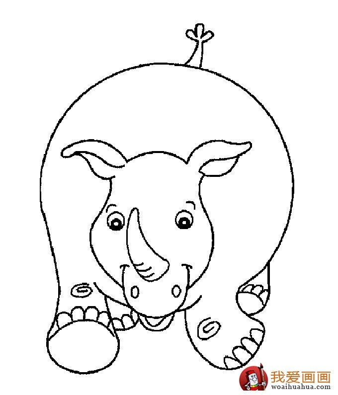 犀牛简笔画,5副高清简笔画犀牛大图