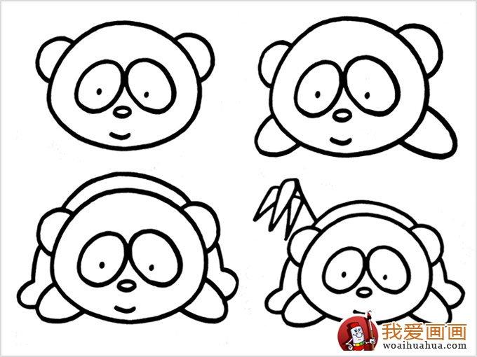 (熊猫吃竹子的简笔画)画法步骤:1,用圆画出熊猫的脸部,眼睛和鼻子