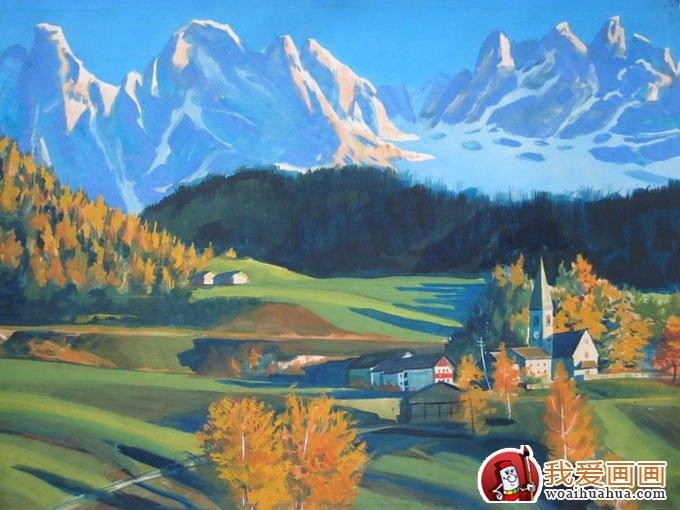 桂林风景水粉画:桂林山水水粉画欣赏