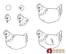 两个国画母鸡教程:水墨画母鸡的画法图文步骤图片