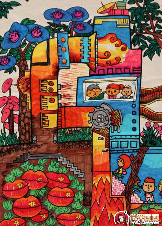 小学生节能环保科幻画获奖作品:地热能生态工厂图片