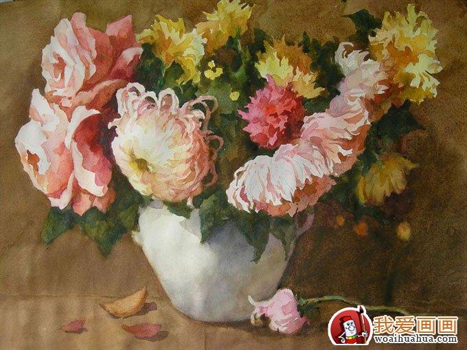 月季花与白色陶瓷花瓶的组合--花卉及花瓶插画