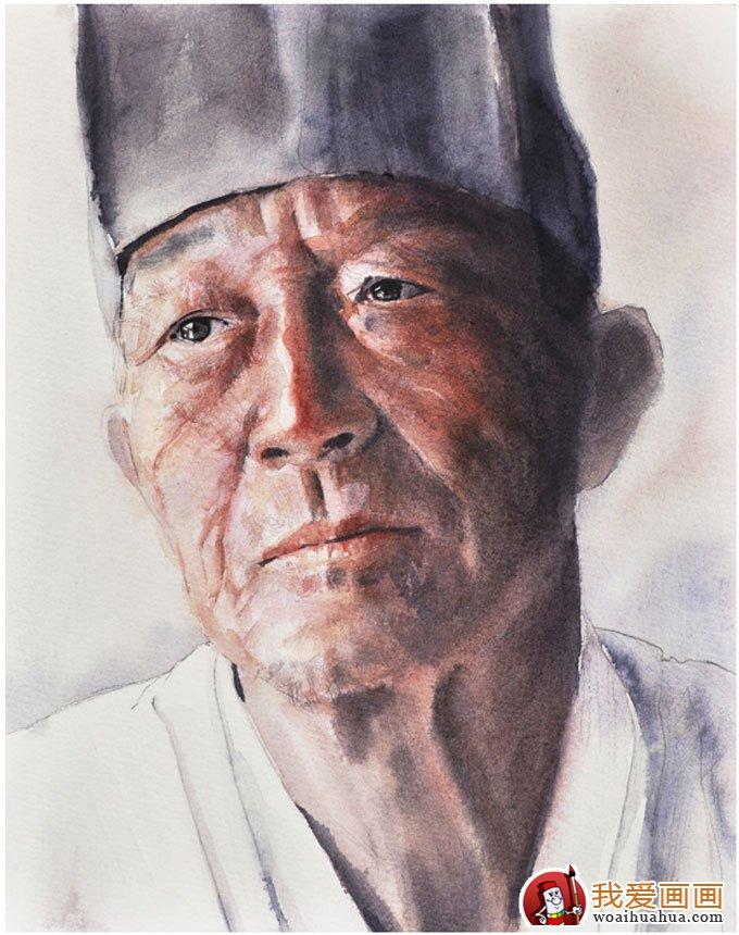 戴帽子的男子水彩頭像寫生步驟(七)