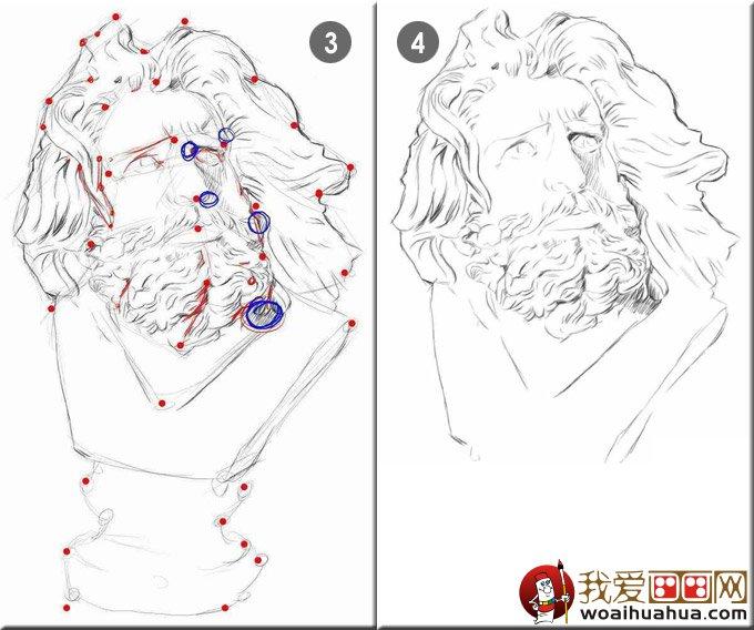 马赛石膏像素描写生教程 素描石膏像马赛绘画步骤图片