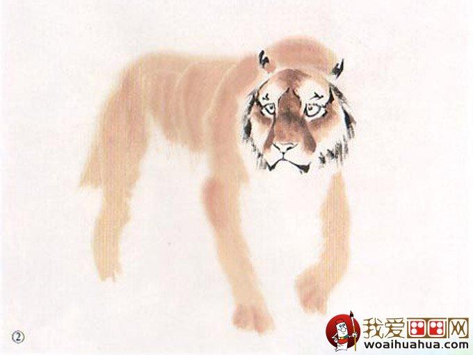 彩墨国画老虎绘画教程:老虎彩墨写意画法图文步骤