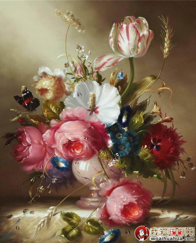 油画花卉:24副高精细缝纫油画教程作品视频欣静物写实花卉图片
