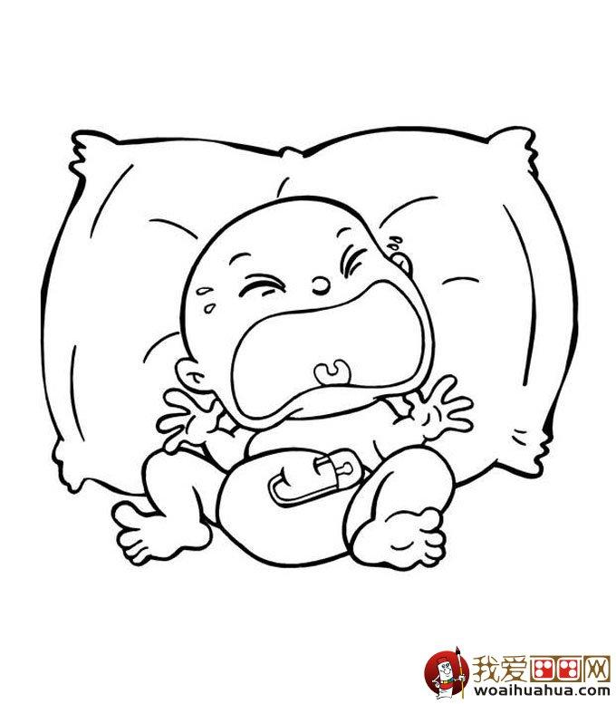 婴儿宝贝简笔画大全各种神态宝宝简笔画画法 8P 儿童画教程 学画画