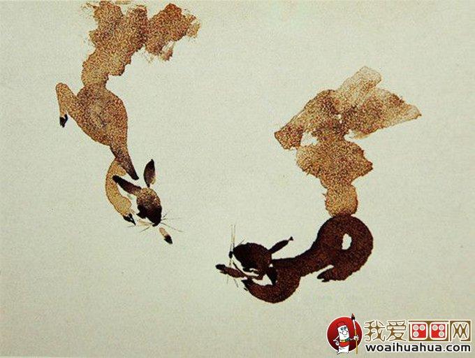 画松鼠教程:用撒盐法绘画国画写意松鼠的步骤