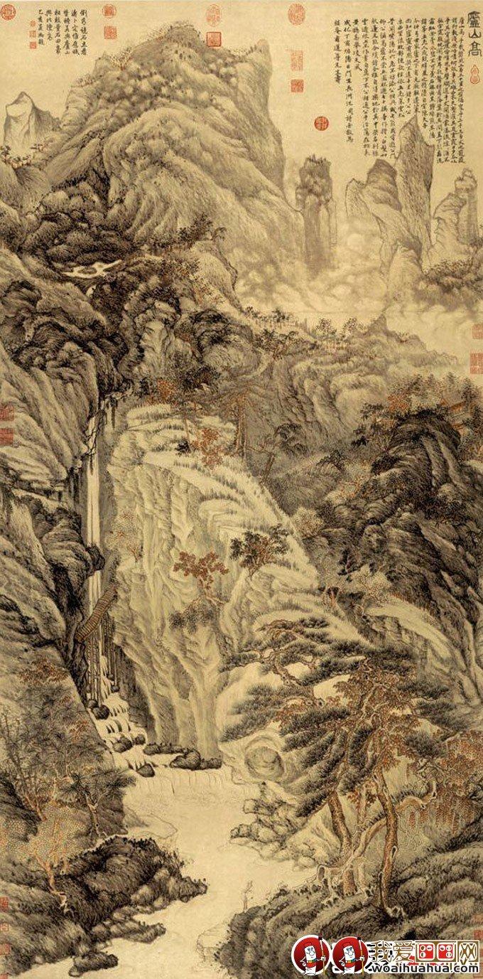 沈周《庐山高》_沈周描绘庐山风景的山水画精品高清大图