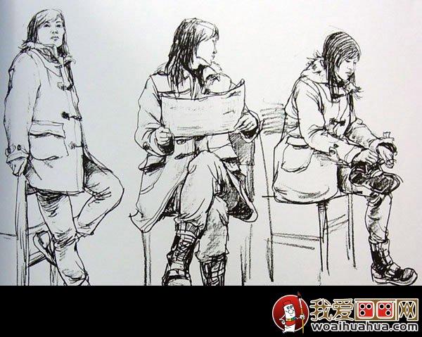 這四副人物速寫寫生作品都是采用年輕人的組合作為主體寫生素材,畫中圖片
