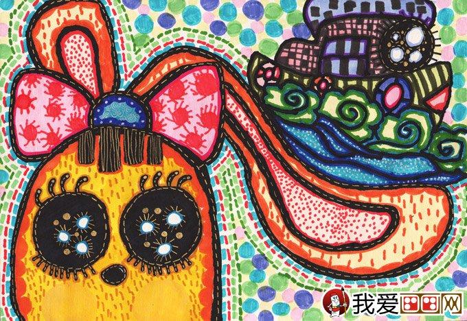 水彩科幻画 兔子耳朵上的巡游 金鹰杯儿童画大赛参赛作品
