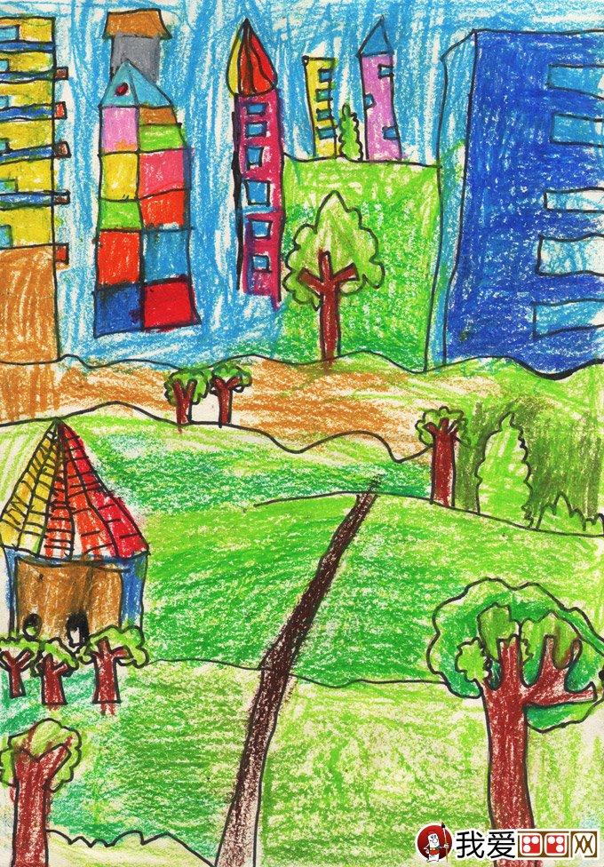 风景环保画:绿色家园--金鹰杯儿童画大赛参赛作品