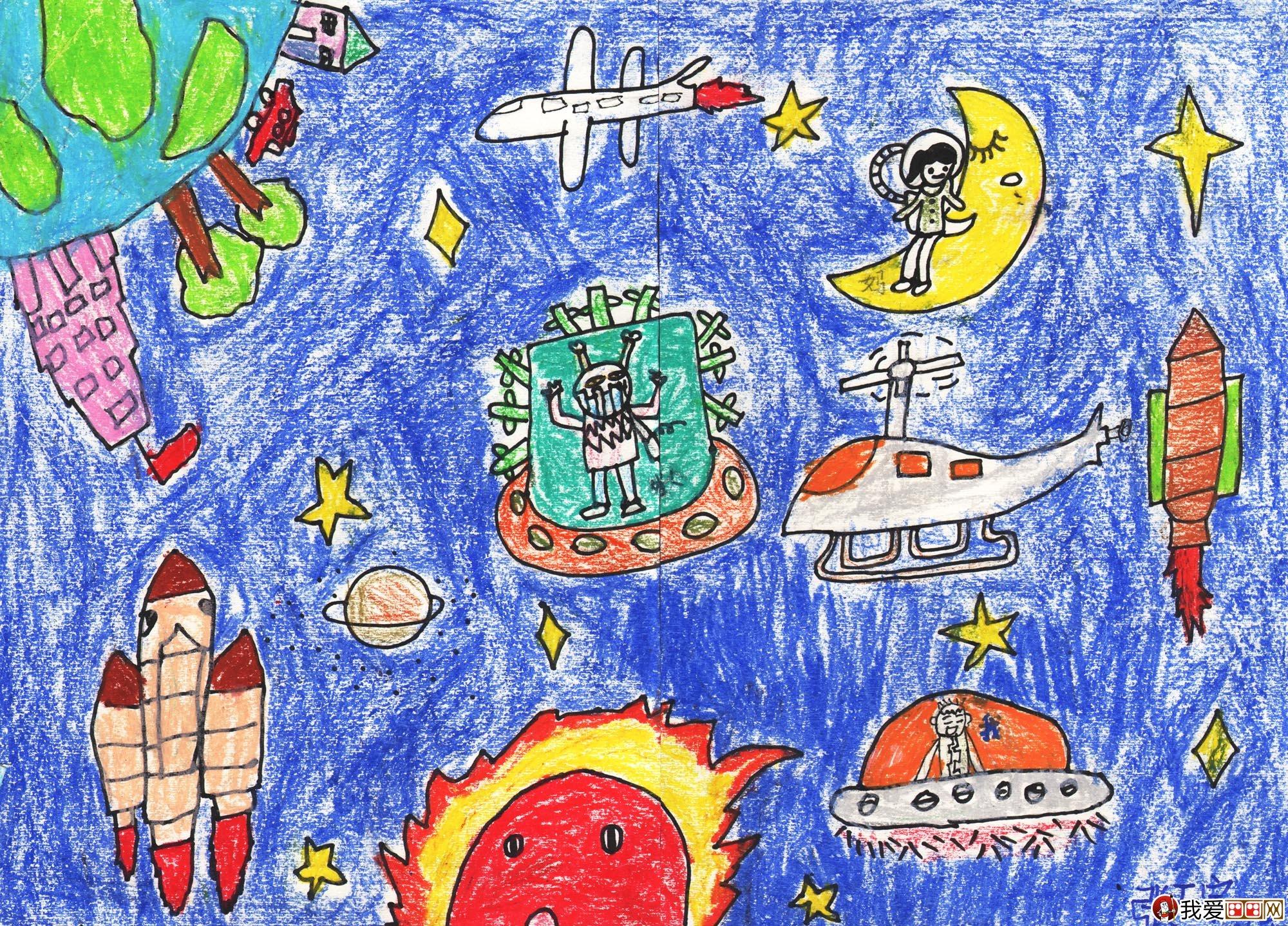 油画棒科幻画 太空遨游 金鹰杯儿童画大赛参赛作品