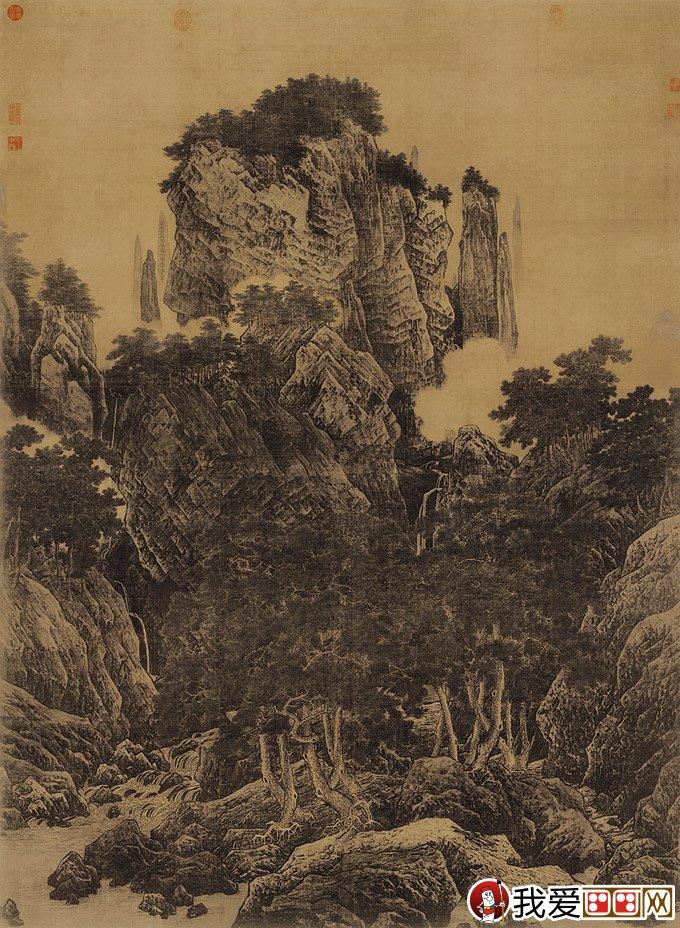 宋代李唐《万壑松风图》山水名画高清图文赏析