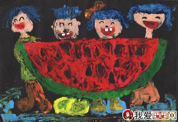 水粉人物画:吃西瓜--金鹰杯儿童画大赛参赛作品