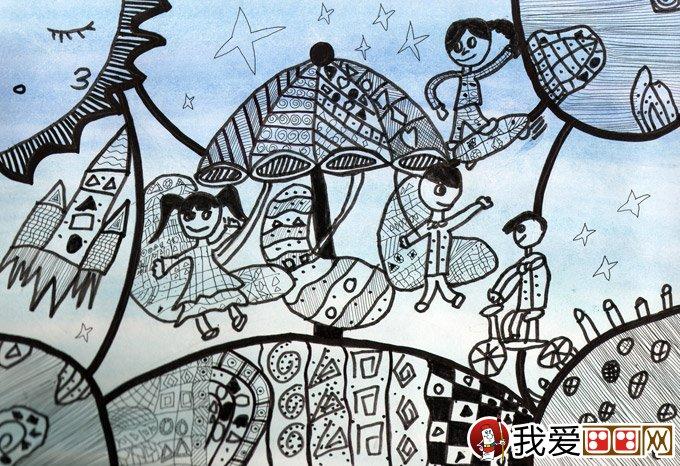 黑白简笔钢笔科幻画 一起去太空游乐场 金鹰杯儿童画大赛参赛作