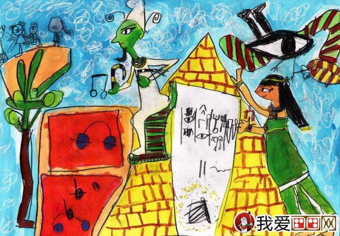 埃及神话梦想故事画 梦的巡游 法老王与金竖琴 金鹰杯儿童画大图片