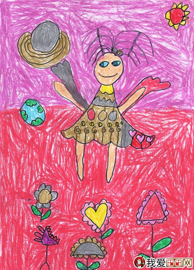 彩色铅笔卡通梦想画:小仙女--金鹰杯儿童画大赛参赛作品图片