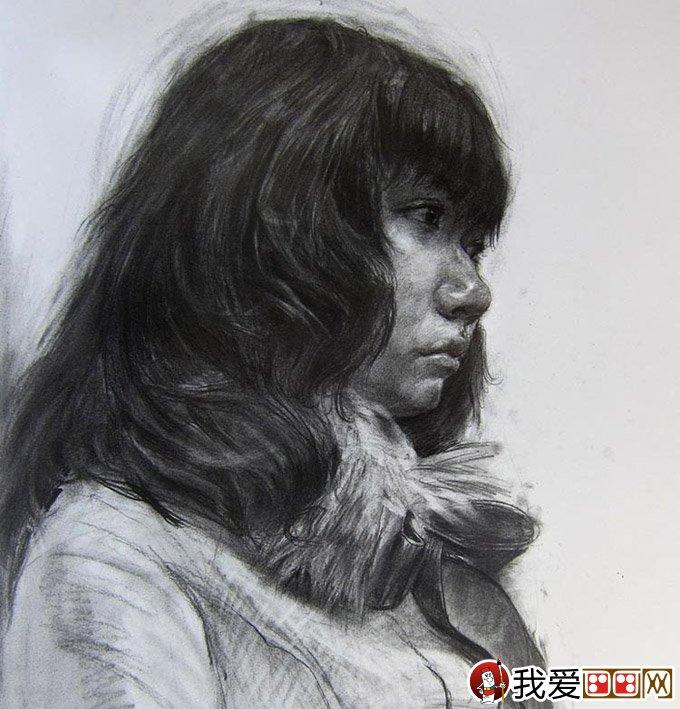 优秀人物素描头像:中国美术学院高分优秀青年头像素描