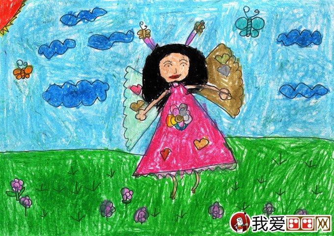 水彩人物卡通梦想画《快乐小仙女》5岁儿童画图片