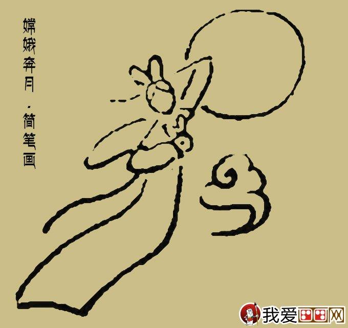 嫦娥简笔画:一副最简单的嫦娥奔月简笔画_儿童画教程