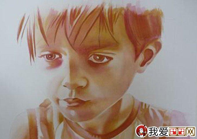 水彩肖像画教程:外国小男孩头像水彩画绘画步骤