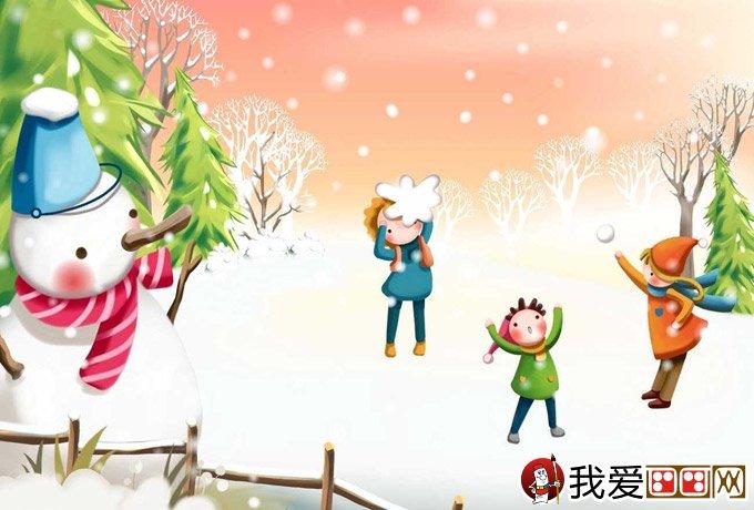 儿童画冬天的画画图片:有关冬天和堆雪人的儿童卡通-和冬天情人有