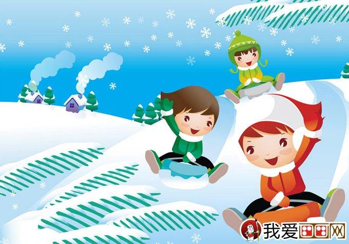 儿童画冬天的画画图片:有关冬天和堆雪人的儿童卡通画