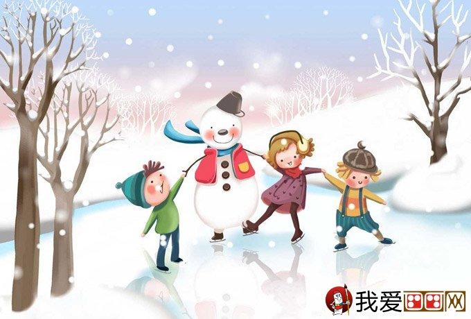 :我们和雪人是好朋友-儿童画冬天的画画图片 有关冬天和堆雪人的