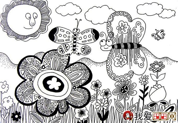 线描儿童画:优秀黑白线描儿童画大图欣赏图片