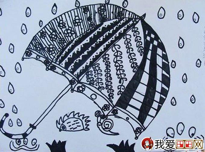 优秀黑白线描儿童画:下雨啦