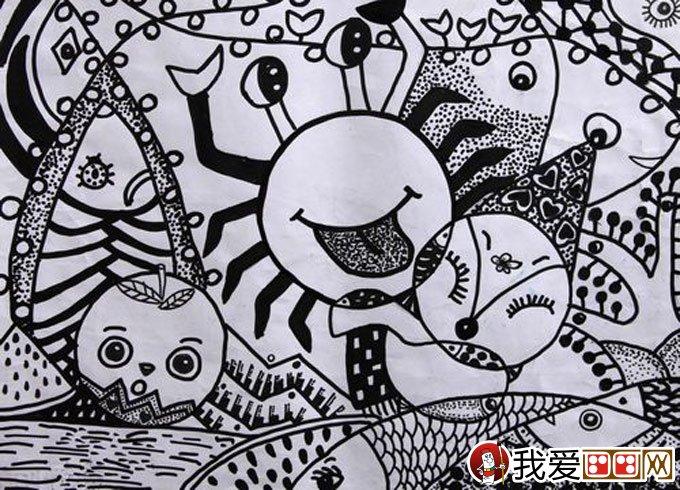 优秀黑白线描儿童画:水果
