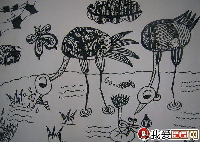 线描儿童画 优秀黑白线描儿童画大图欣赏