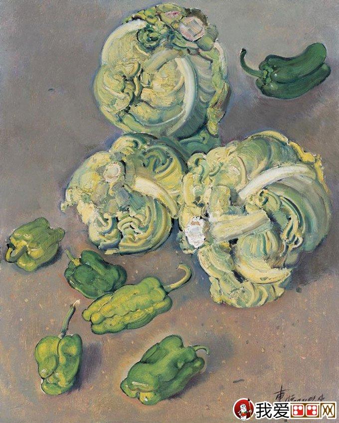 忻东旺油画静物作品:卷心菜,青椒-忻东旺蔬菜,水果等油画静物欣