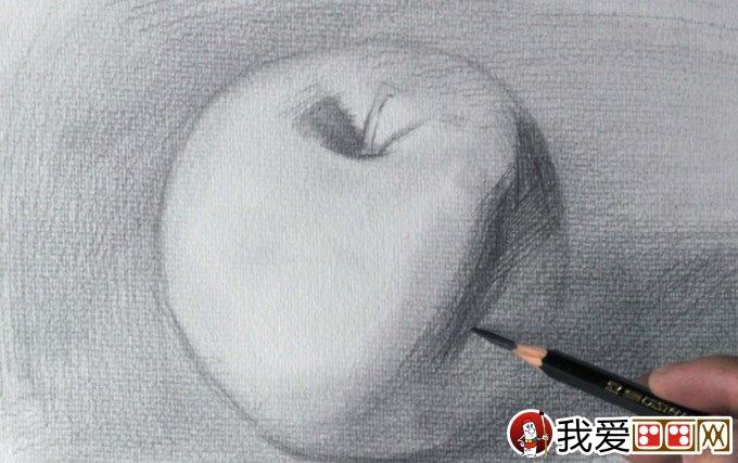 正立面苹果素描写生绘画教程详细步骤-强烈推荐(5)