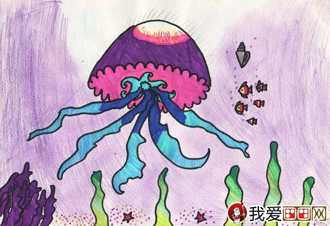 水彩笔画《巡游海底世界的水母》10岁儿童画作品