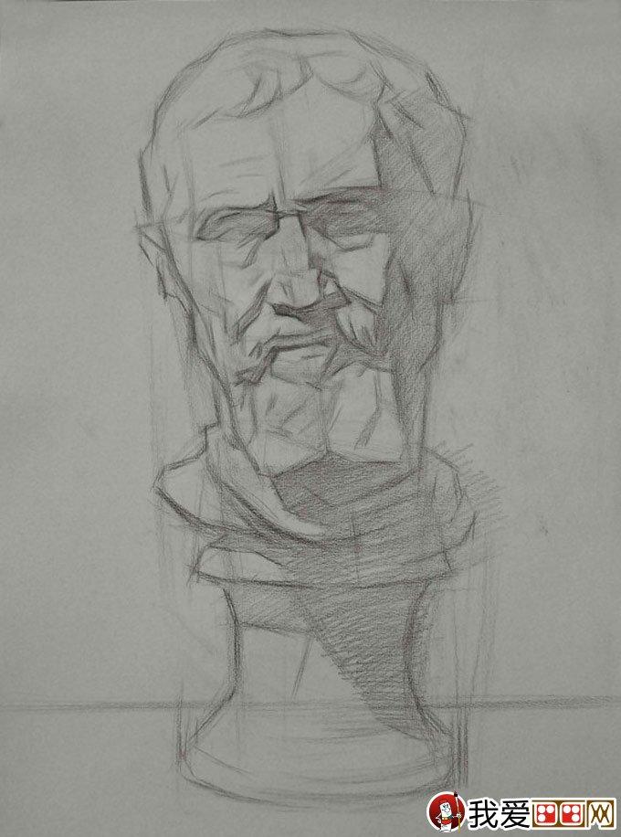石膏像素描写生:米开朗基罗像石膏像素描绘画教程(2)