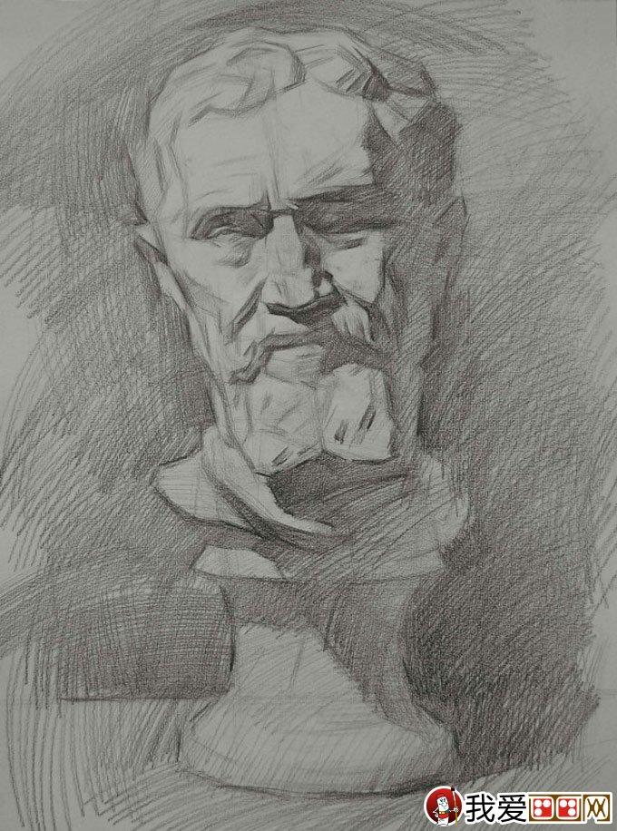 像素描绘画教程(5)                      米开朗基罗石膏像步骤四:用