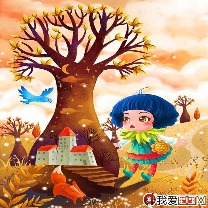 大树儿童卡通画 两幅有关大树的儿童插画_卡通画 .