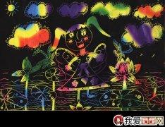 荧光笔画《水上芭蕾》8岁儿童画作品