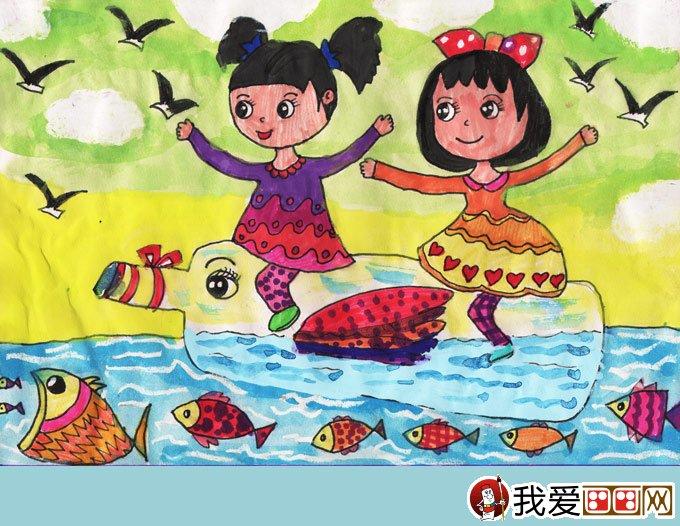 学画画 儿童画教程 儿童水彩画 > 水彩画幻想画《海上旅行》:漂流瓶与