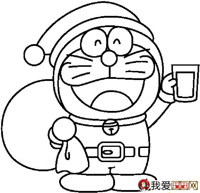 啦a梦之机器猫简笔画图片:圣诞老人送礼物-哆啦a梦之机器猫简笔画
