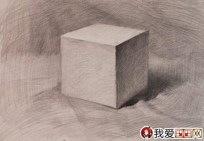 石膏立方体素描教程:立方体结构明暗素描绘画步骤(4)